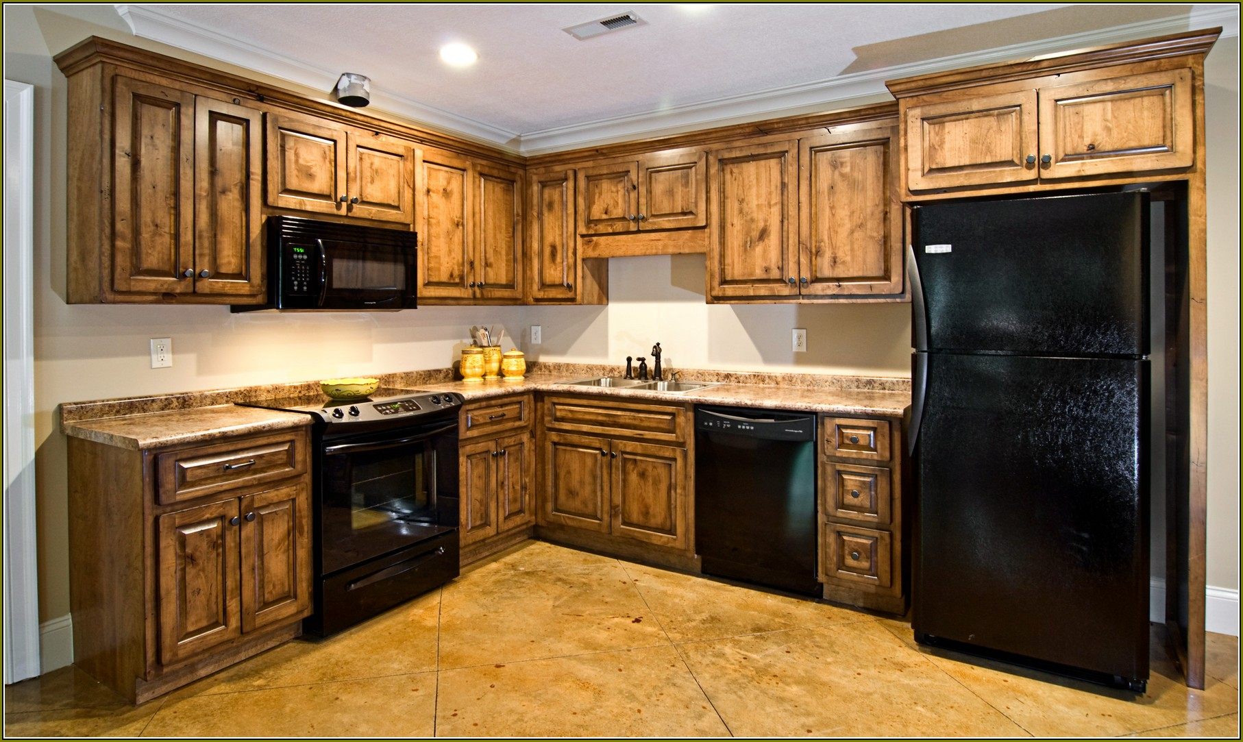 Dark Knotty Alder Kitchen Cabinets